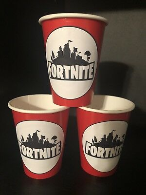 24 FORTNITE Video Game Birthday Party Paper Cups - RED
