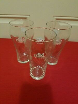 """Coca Cola 14 oz Vintage Swirl Clear Glass 6"""" Tall Set Of 3"""