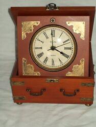 Bulova B7450 Tabletop Box Clock ~ Quartz Table Clock ~ Wood Box ~ Walnut Finish
