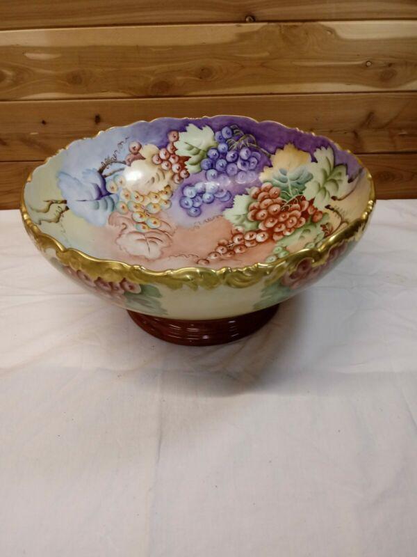 "Antique T&V Limoges  Large Punch Bowl Hand Painted Grapes 14"" W France"