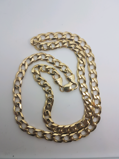 Solid 10ct yellow Gold 81.9g Curb Link Chain