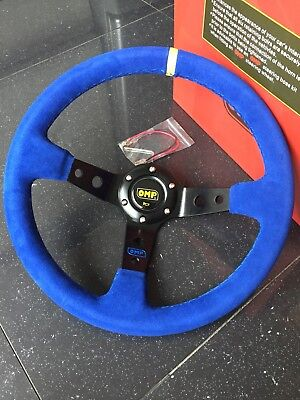 New 350mm Universal OMP Blue suede Yellow Stitching Deep Dish Steering Wheel