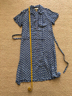 "vintage April Cornell dress, L, short sleeves, blue, cream floral, A-line, 46"""