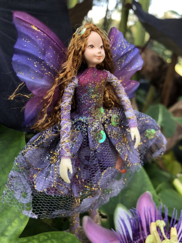 """Poseable Handmade Fairy Collectible Doll Ornament """"Lavender"""""""