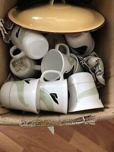 Kitchen dishes, pots, pans