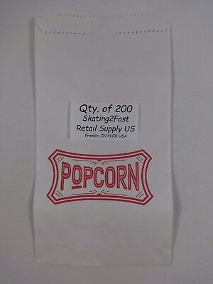 200 Qty. 1.5 oz Popcorn Paper Snack Sacks Bags Concession supplies 5.5