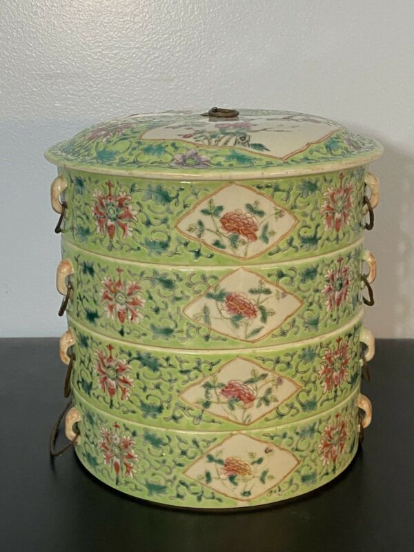 Antique Chinese Hand Painted Porcelain Lidded Stackable Rice Bowls