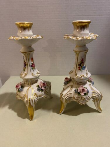 Pair of Vintage Dresden Candlesticks ~ Crown N ~ Capodimonte Roses Gold Trim