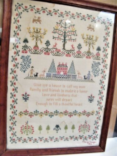 Vintage Needlepoint SAMPLER a Home Embroidered Needlepoint FRAMED Handmade