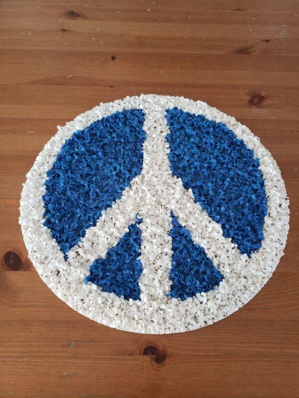 Vintage Melted Plastic Popcorn Peace Sign Decoration Blue White Retro Hippie Mod