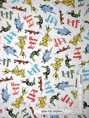 Dr. Seuss Fabric Horton Hears A Who Toss Characters #15379 Robert Kaufman ~ Yard - Seuss Characters