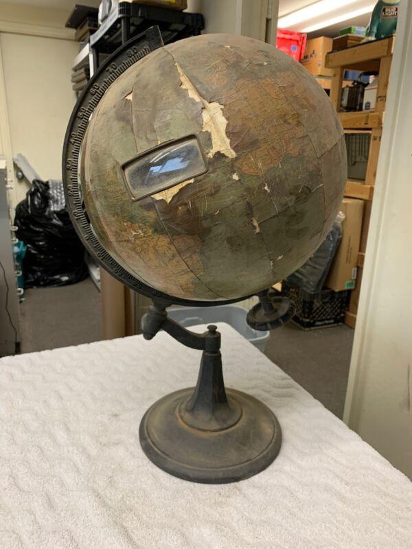 "Chas M Williams Antique 12"" World Index Globe Metal Base Johnston Cartographer"