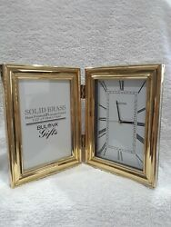Bulova Modern Contemporary Solid Brass Desk Clock/Picture Frame # B1212