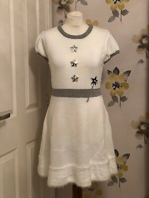 NEW CHRISTMAS NOVELTY KNITTED DRESS & HAT–WHITE FAIRY WITH WINGS & HALO HEADBAND
