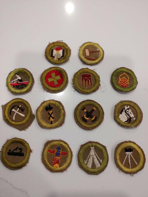 14 BSA Type F Khaki Crimped Merit Badges