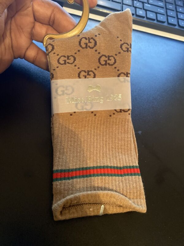 Dark brown GG socks fashion cotton  one size 2 Pair