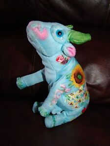 Cow Parade Blue Flower Print Cow Plush Beanie Doll 8 1/2