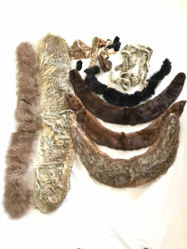 Mixed Vintage Lot Fur Collar and Sewing Scrap