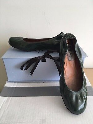 Rare LANVIN Classic Dark Green Hunter PATENT Leather Ballet Flats Shoes 36IT/6US