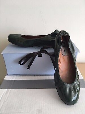 Rare LANVIN Classic Dark Green Hunter PATENT Leather Ballet Flats Shoes 36IT/6US