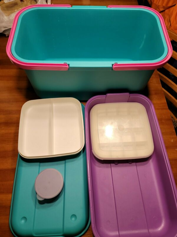 Eagle Craftstor Craft Sewing Tote Storage Organizer w/ Tray Teal Pink Extras!
