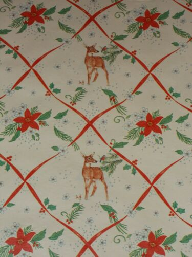 VTG CHRISTMAS STORE WRAPPING PAPER 2 YARDS GIFT WRAP DEER BLUE BIRD SNOW WINTER