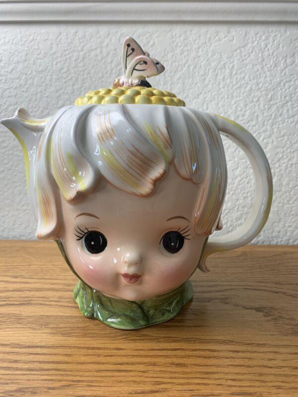 RARE 1950's Vintage Lefton Thumbelina Honey Bun Pixie Teapot  #1695