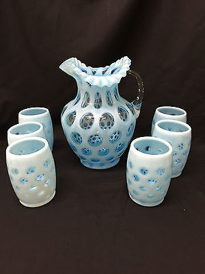 Fenton Blue Opalescent Coin Spot Pitcher and Six Glasses