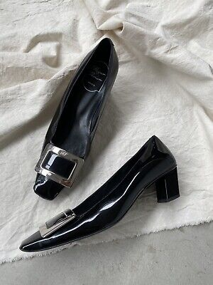 Roger Vivier 37 Black Patent Leather Silver Buckle Pumps Italy