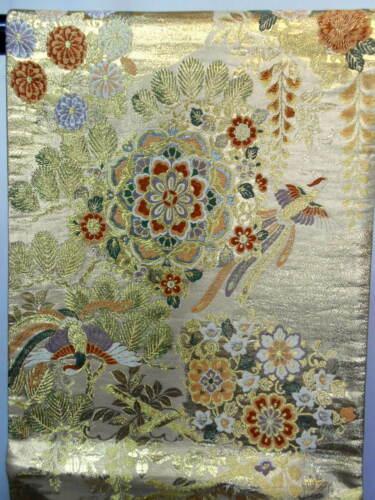 "Japanese Kimono SILK Fukuro OBI, Rokutu ,Gold thread/foil,Phoenix,L168""..1642"