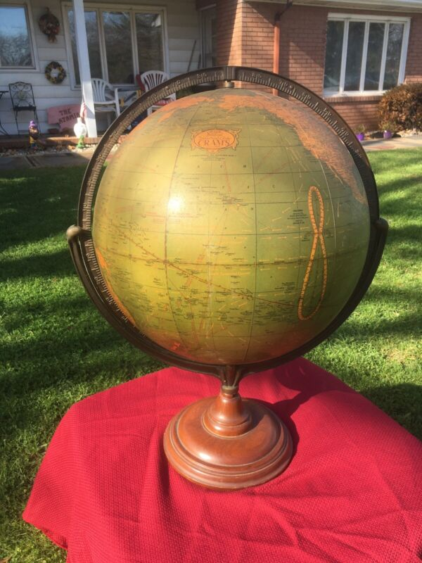 """Vintage Extra Large Cram's 16"""" Political Terrestial Globe Ht 25"""" Wooden Stand"""