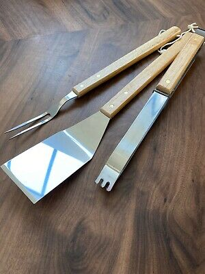 Large Quality Stainless Steel BBQ Set, Tong, Fork and Spatular Utensils