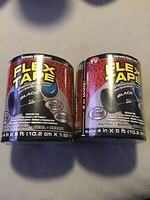 Flex Tape Rubberized Waterproof Tape 4 X 5 Black 2 Pack