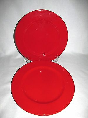 WAECHTERSBACH GERMANY 2 SOLID RED SERVICE PLATE CHARGERS 13 3/8