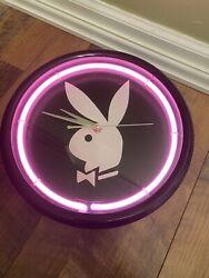 PLAYBOY Bunny Pink Neon Black Wall Clock 12V Ktec AC Plug Tested Works. (b9)