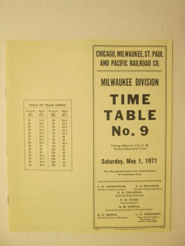 Milwaukee Road Time Table No. 9 May 1, 1971 Milwaukee Division