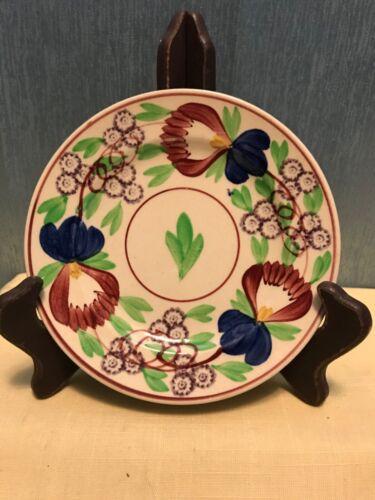 """Antique Petrus Regout Maastricht Holland Spongeware Floral Plate 6.5"""" 1880-1890"""