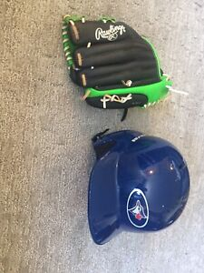 Rawlings baseball helmet and glove