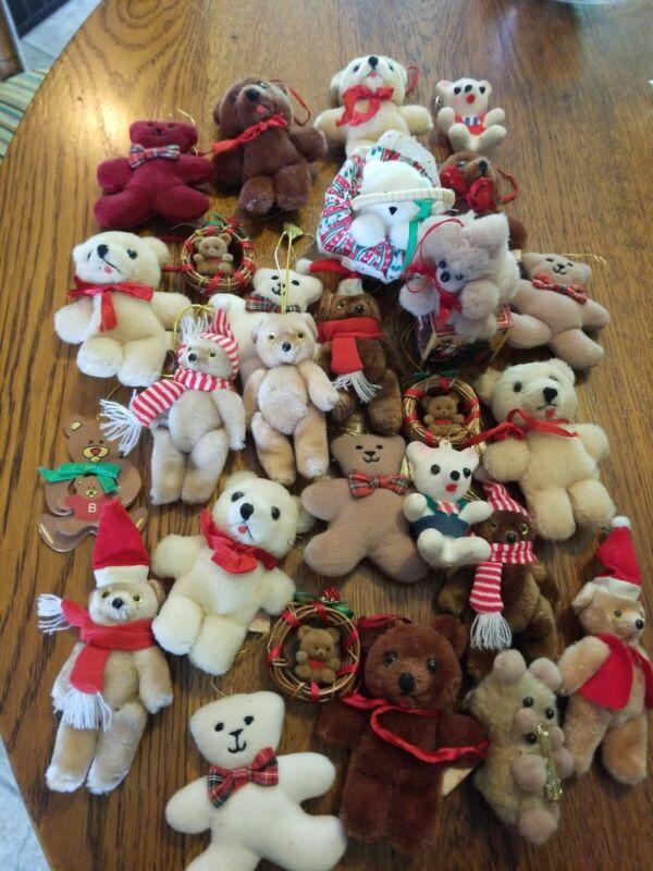 Lot of 27 Vintage Adorable Fuzzy Flocked Plush Teddy Bear Christmas Ornaments