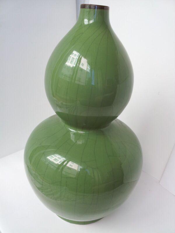 Large Chinese Celadon Porcelain Double Gourd Vase 23 1/4