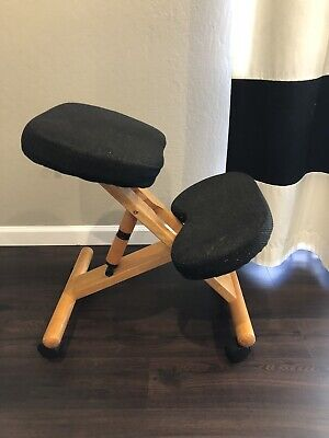 Ergonomic Mobile Kneeling Office Chair Stool Wood And Black Fabric