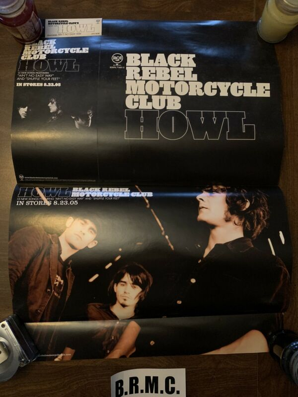 BRMC Black Rebel Motorcycle Club promo POSTER and Sticker HOWL 2005 hard stock