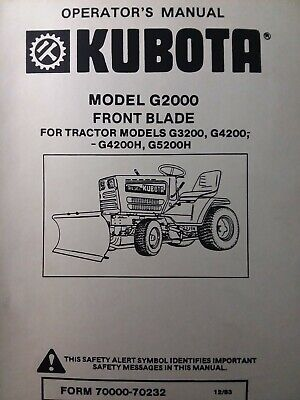 Kubota G5200h Garden Tractor Front Blade Implement G2000 Owner Parts Manual