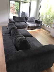Grey cord couch. From plush furniture.