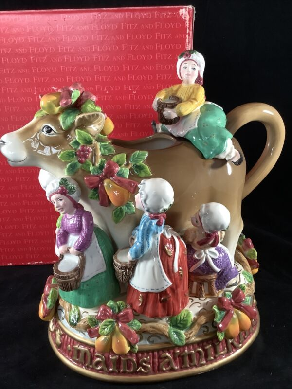 2000 Fitz & Floyd 12 Days of Christmas 8 Eight Maids A Milking 16 Oz. Pitcher