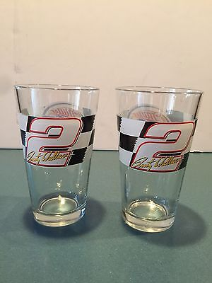 Miller Lite Rusty Wallace Nascar pint Beer Glasses Set Of 2