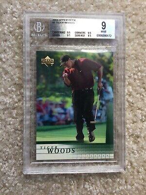 Tiger Woods 2001 Upper Deck Rookie Card BGS 9 ( 3x 9.5) Lot O