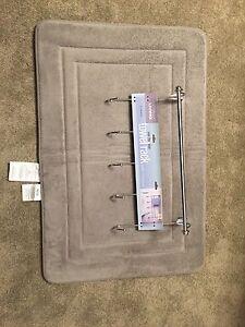 Bath essentials tower rack & memory foam rug