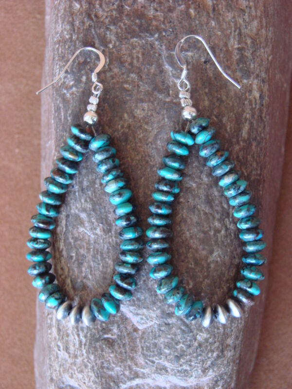 Navajo Indian Hand Beaded Turquoise and Desert Pearl Earrings by D. Jake