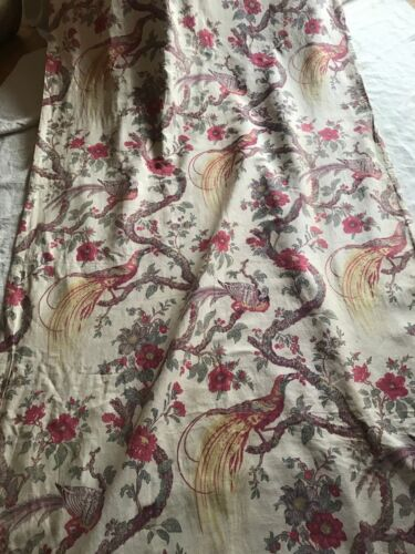 ANTIQUE FRENCH LINEN CURTAIN - BIRDS OF PARADISE & FLOWERS - 1920